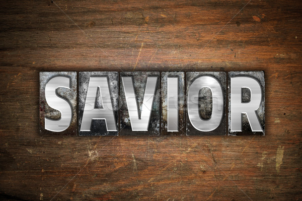 Savior Concept Metal Letterpress Type Stock photo © enterlinedesign