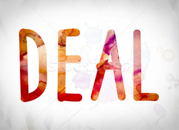 Stockfoto: Deal · aquarel · woord · kunst · geschreven · witte