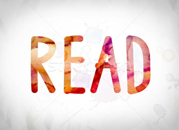 Stok fotoğraf: Okumak · suluboya · kelime · sanat · yazılı · beyaz