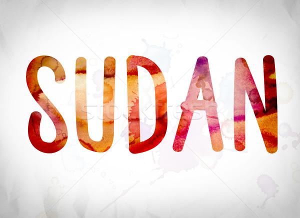 Soedan aquarel woord kunst geschreven witte Stockfoto © enterlinedesign
