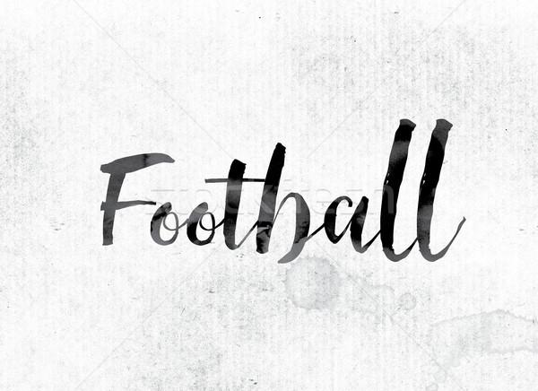 Voetbal geschilderd inkt woord aquarel witte Stockfoto © enterlinedesign