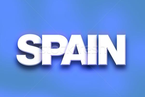 Spanje kleurrijk woord kunst geschreven witte Stockfoto © enterlinedesign