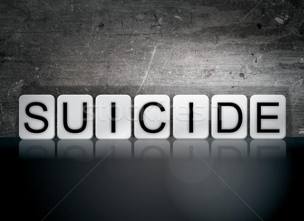 самоубийства плиточные письма слово написанный белый Сток-фото © enterlinedesign