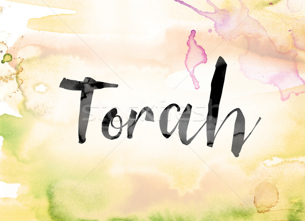 Torah Colorful Watercolor and Ink Word Art Stock photo © enterlinedesign