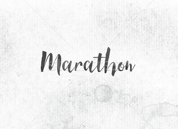 Maraton malowany atramentu słowo czarny akwarela Zdjęcia stock © enterlinedesign