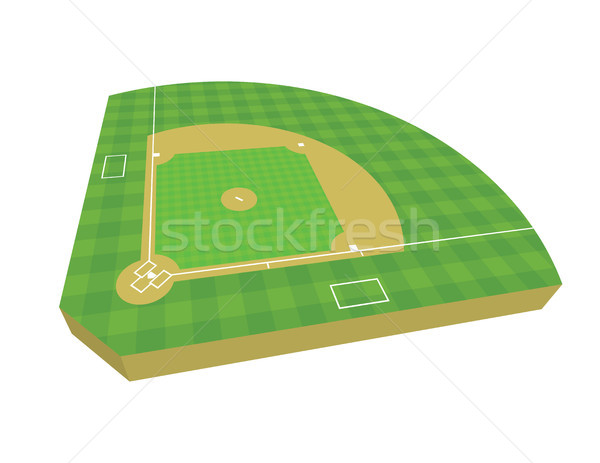 3D Baseball Field Illustration Stock photo © enterlinedesign