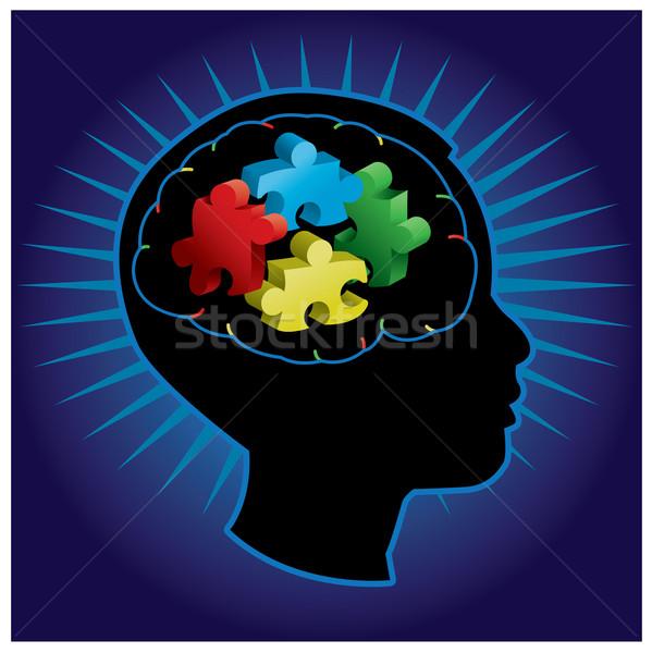 Kind autisme silhouet zwarte symbolisch puzzelstukjes Stockfoto © enterlinedesign