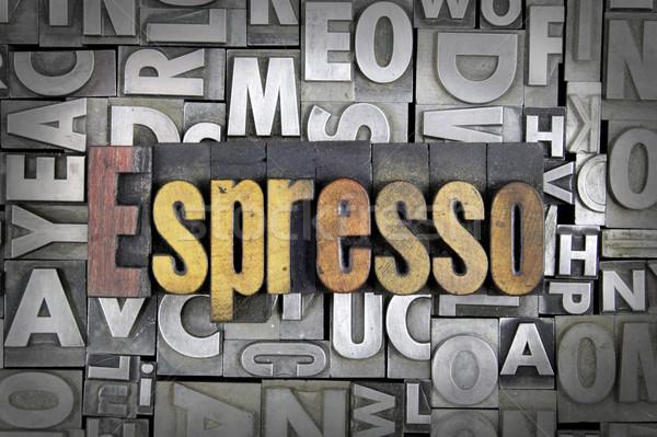 Stok fotoğraf: Espresso · yazılı · bağbozumu · tip · dizayn