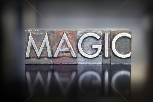Magie woord geschreven vintage type Stockfoto © enterlinedesign