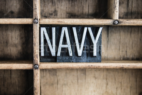 Stock photo: Navy Concept Metal Letterpress Word in Drawer