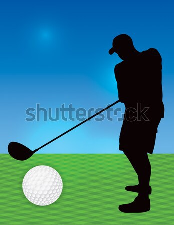 Silhouetted Man Golfing Illustration Stock photo © enterlinedesign
