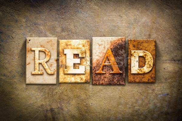 Lezen leder woord geschreven roestige Stockfoto © enterlinedesign