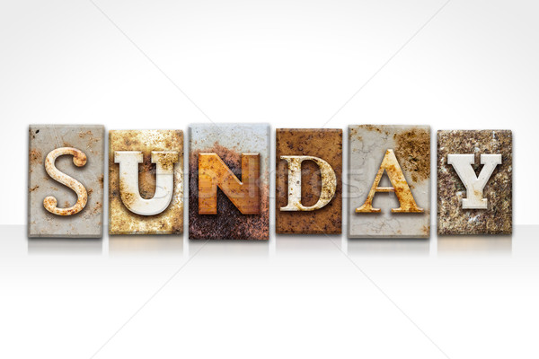 Sunday Letterpress Concept Isolated on White Stock photo © enterlinedesign