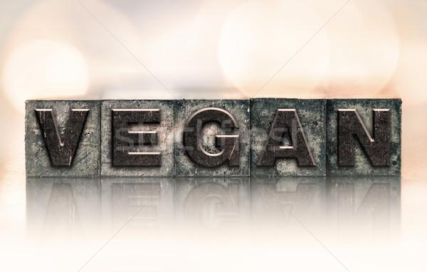 完全菜食主義者の ヴィンテージ タイプ 言葉 書かれた ストックフォト © enterlinedesign