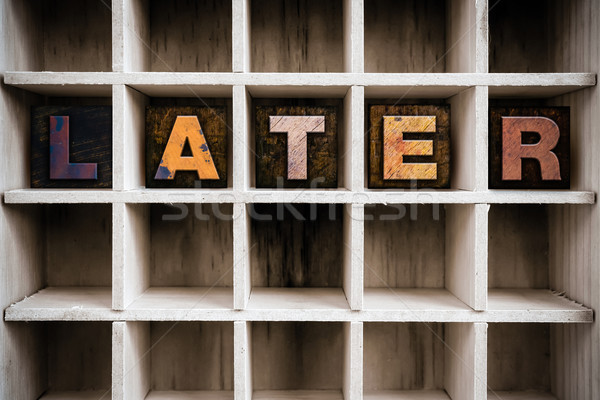 Later Concept Wooden Letterpress Type in Drawer Stock photo © enterlinedesign