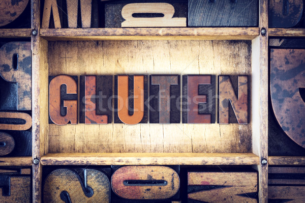 Gluten Concept Letterpress Type Stock photo © enterlinedesign