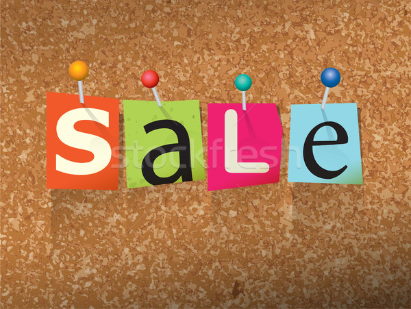 Sale Pinned Paper Concept Illustration Stock photo © enterlinedesign