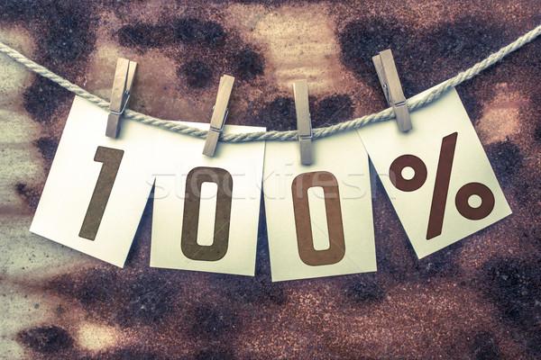 100 százalék kártyák zsinór szó öreg Stock fotó © enterlinedesign