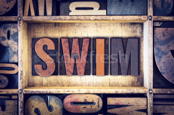 Swim Concept Letterpress Type Stock photo © enterlinedesign