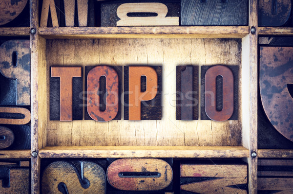 Haut 10 type mot écrit Photo stock © enterlinedesign