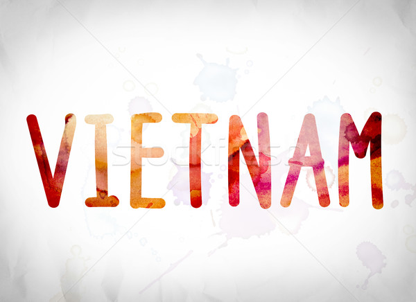 Viêt-Nam couleur pour aquarelle mot art écrit blanche Photo stock © enterlinedesign