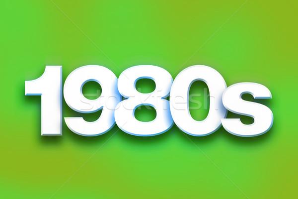 1980 colorato parola arte scritto bianco Foto d'archivio © enterlinedesign