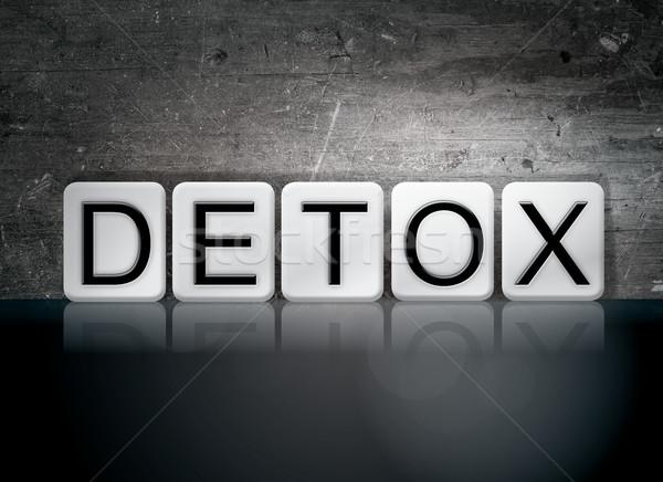 Detoxikáló csempézett levelek szó írott fehér Stock fotó © enterlinedesign