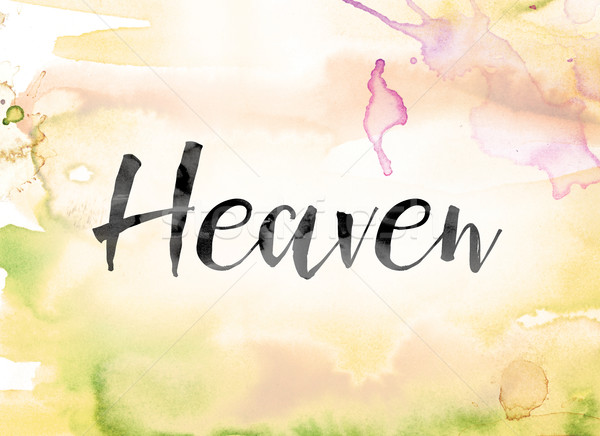 Heaven Colorful Watercolor and Ink Word Art Stock photo © enterlinedesign