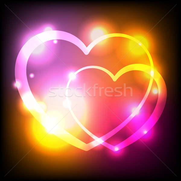 Glowing Lights Hearts Background Illustration Stock photo © enterlinedesign