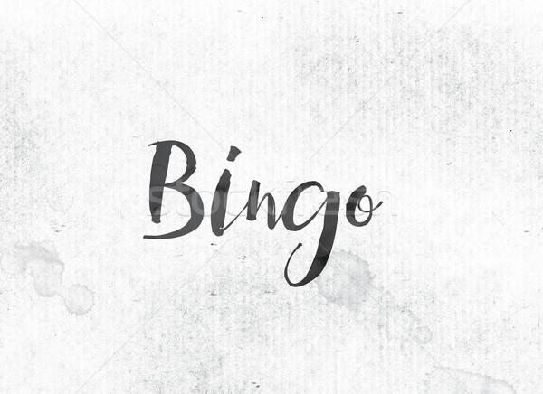 Bingo geschilderd inkt woord zwarte aquarel Stockfoto © enterlinedesign