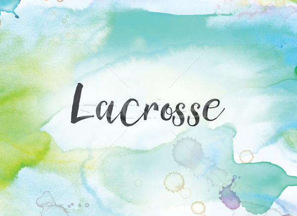 Lacrosse Concept Watercolor and Ink Painting Stock photo © enterlinedesign