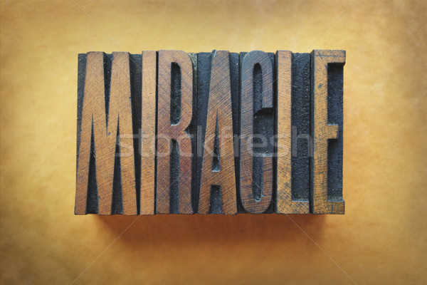Miracle mot écrit vintage type Photo stock © enterlinedesign