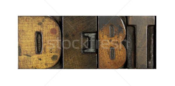 Stock fotó: Adósság · szó · írott · klasszikus · magasnyomás
