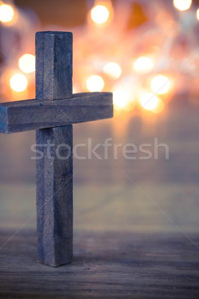 Cristão atravessar macio bokeh luzes Foto stock © enterlinedesign