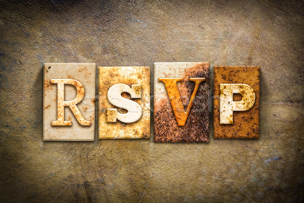 RSVP Concept Letterpress Leather Theme Stock photo © enterlinedesign