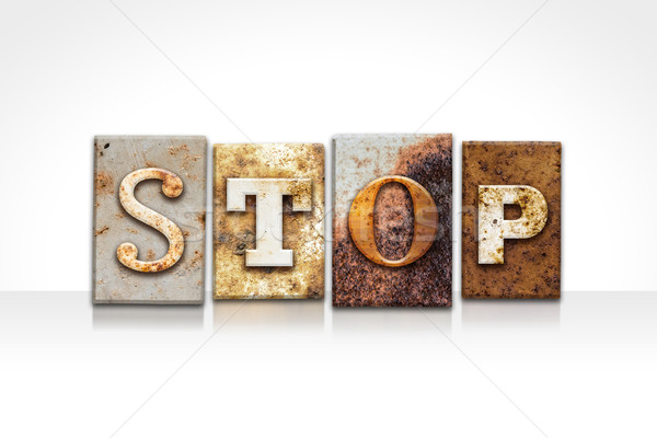 Stop Letterpress Concept Isolated on White Stock photo © enterlinedesign