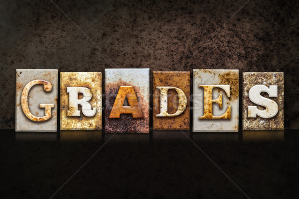 Grades Letterpress Concept on Dark Background Stock photo © enterlinedesign