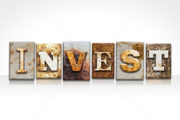 Invest Letterpress Concept Isolated on White Stock photo © enterlinedesign