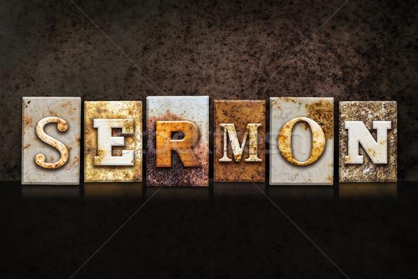 Sermon Letterpress Concept on Dark Background Stock photo © enterlinedesign