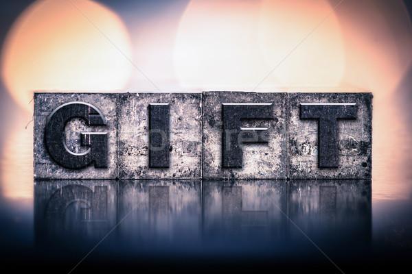 Gift Concept Vintage Letterpress Type Stock photo © enterlinedesign