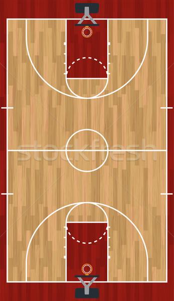 Stockfoto: Realistisch · verticaal · basketbalveld · illustratie · hardhout