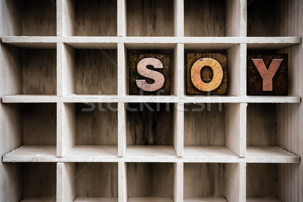 Soy Concept Wooden Letterpress Type in Drawer Stock photo © enterlinedesign
