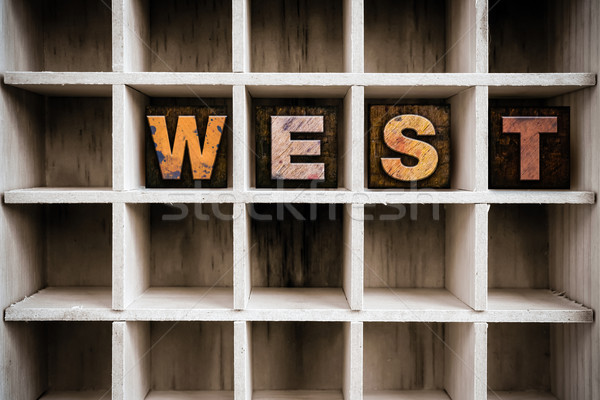 West houten type lade woord Stockfoto © enterlinedesign