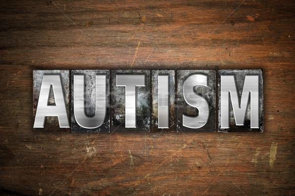 Autizmus fém magasnyomás szó írott Stock fotó © enterlinedesign