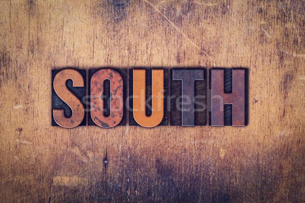 Dél fából készült magasnyomás szó írott Stock fotó © enterlinedesign