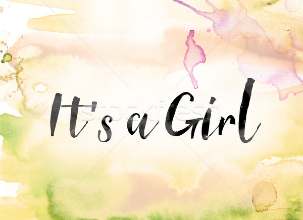 It's a Girl Colorful Watercolor and Ink Word Art Stock photo © enterlinedesign