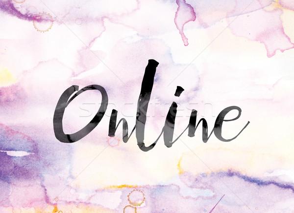 çevrimiçi renkli suluboya mürekkep kelime sanat Stok fotoğraf © enterlinedesign