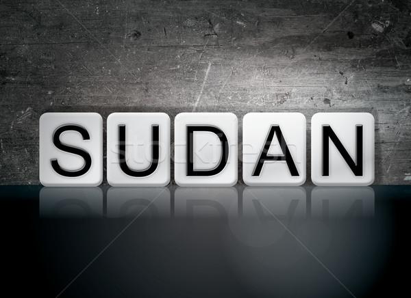 Soedan betegelde brieven woord geschreven witte Stockfoto © enterlinedesign