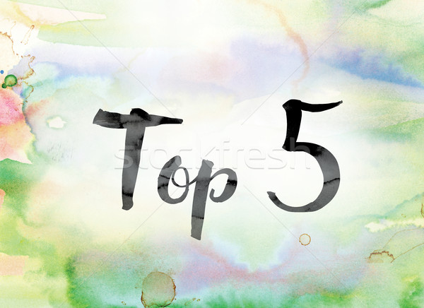 Top 5 Colorful Watercolor and Ink Word Art Stock photo © enterlinedesign