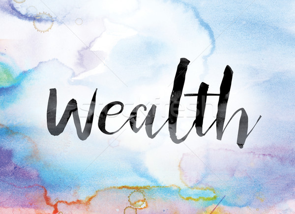 Wealth Colorful Watercolor and Ink Word Art Stock photo © enterlinedesign